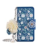 Leather Wallet Case iPhone 6 Plus,iPhone 6S Plus Women HandBag Case with Chian,Gostyle Fashionable Luxury Jasmine Floral Pattern PU Flip Magnetic Case with Credit Card Holder and Wristlet Strap.