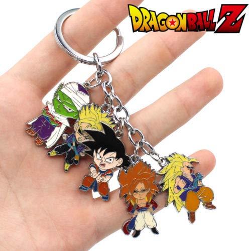 YPT - Juego de 5 colgantes de metal con diseño de bola de dragón de anime Z Son Goku + Vegeta + Piccolo
