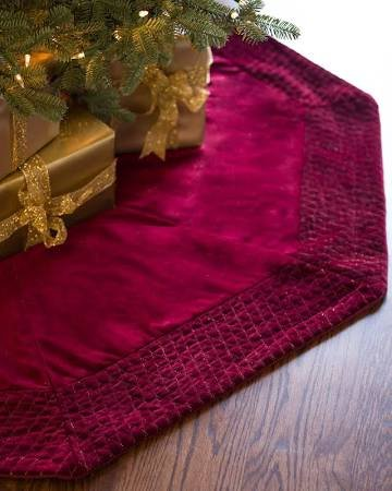 Vickerman QTX17773 84 in. Plush Wine Velvet Tree Skirt