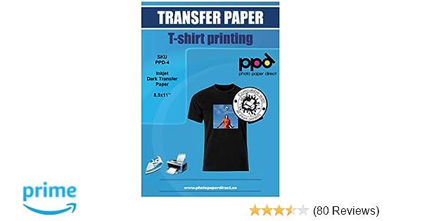 PPD Inkjet Iron-On Dark T Shirt Transfers Paper LTR 8 5x11
