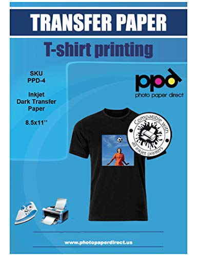"PPD Inkjet Iron-On Dark T Shirt Transfers Paper LTR 8.5x11"" pack of 20 Sheets (PPD004-20)"