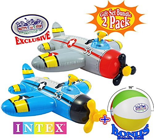 Intex Water Gun Squirter Fighter Plane Ride-On Pool Floats Red/Gray & Blue/Yellow Gift Set Bundle with Bonus