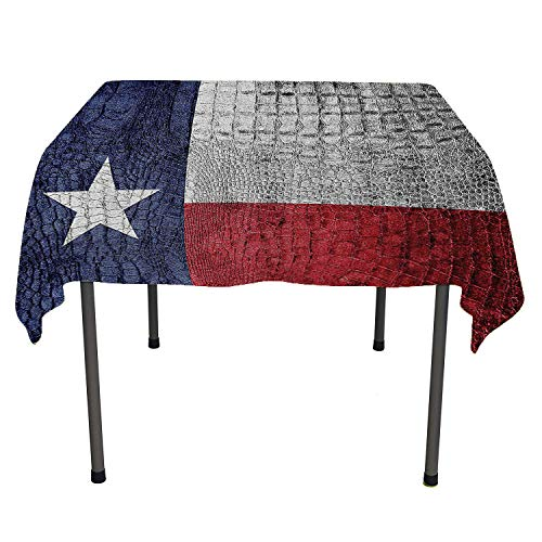 Western Decor Collection, Luxurious Table Cloth Wrinkle Resistant Texas State Flag Painted on Luxury Crocodile Snake Skin Patriotic Emblem, Home Decoration Outdoor, 36x36 Inch Burgundy Navy White]()