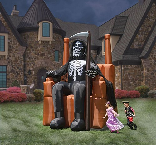 Halloween Inflatable 12' Grim Reaper Sitting on Throne Airblown Prop Decoration