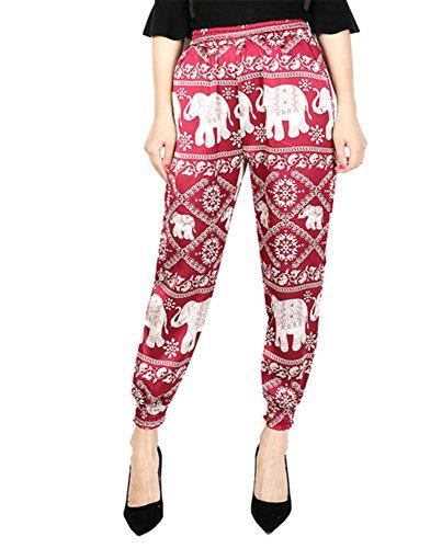 Vita A Rosso Con Elefante Harem Harem Donna Pantalone Fiato qwSaCSv