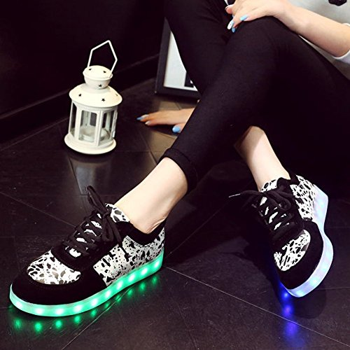 Sneakers Shoes sexphd Women's LED Black Sneakers Flashing Light Men's Fluorescent Pattern Rechargeable up up Lace rURrv