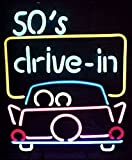 Cozyle Glass Bright Neon Light 50's Drive in Neon Sign 17''x14'' Real for Drive in Bar Restaurant Beer Dinner