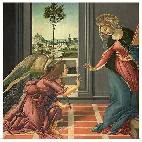 GREATBIGCANVAS Poster Print Entitled Annunciation, by Botticelli, 1489-1490. Uffizi Gallery, Florence, Italy by Sandro Botticelli - Annunciation Botticelli