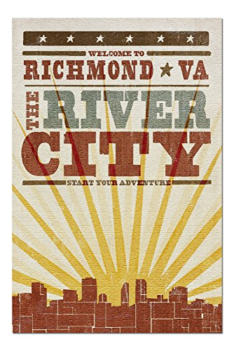 - Richmond, Virginia - Skyline and Sunburst Screenprint Style (20x30 Premium 1000 Piece Jigsaw Puzzle, Made in USA!)
