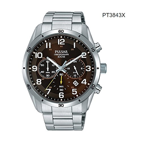 (Pulsar Gents Stainless Steel Brown Face Chrono PT3843X1)