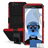 iTALKonline Huawei Ascend G7 G7-L01 G7-L03 Red Black Tough Hard Shock Proof Rugged Heavy Duty Case Cover with Viewing Stand and LCD Screen Protector Guard
