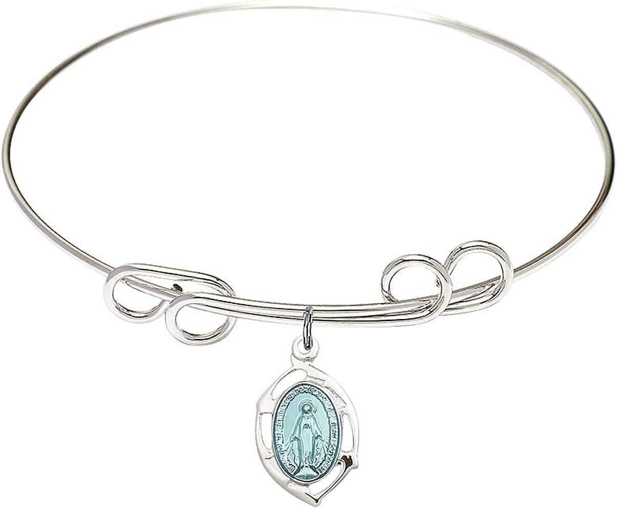 DiamondJewelryNY Double Loop Bangle Bracelet with a Miraculous Charm.