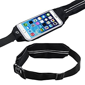 Zhuo Ao electronics Running Waist Belt Pack, Sports Waistband with Zipper-iPhone 7, Samsung Water Resistant Case with Transparent Touch Screen Access, Key Ring and Side Pocket-Smartphone Pouch