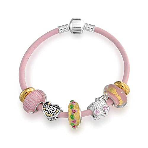 Mother Family Happiness Love Heart Themed European Bead Charm Pink Leather Bracelet For Women 925 Sterling Silver