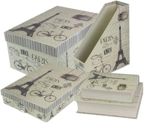 JVL A4 Paris Cajas de Almacenamiento con Tapa Tipo Libro para ...