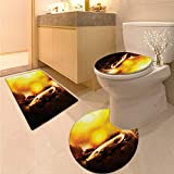Anhuthree Sculptures Toilet mat Set Bronze Religious Statue in Meditation Eastern Religion Ritual Asian Culture Theme 3 Piece Toilet Cover Set Yellow