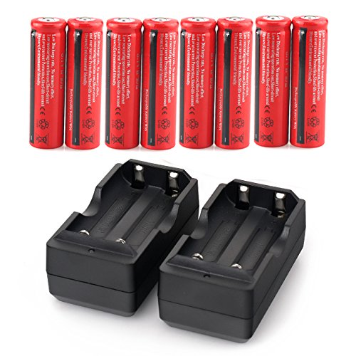 X.Store 8 Pack 4000mAh Rechargeable Batteries 3.7V Li-on Battery with 2 Pack Charger(Button Top,NOT AA)