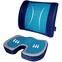 My Pick ae Seat Gel Cushion Set|Memory Foam Seat Cushion and Lumbar Back Support Pillow|For Sciatica, Coccyx, Back…