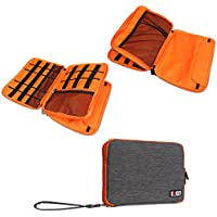 BUBM Large Double Layer Electronics Accessories Bag Travel Gear Organizer Phone Charger Cable Storage Bag (Grey&Orange)
