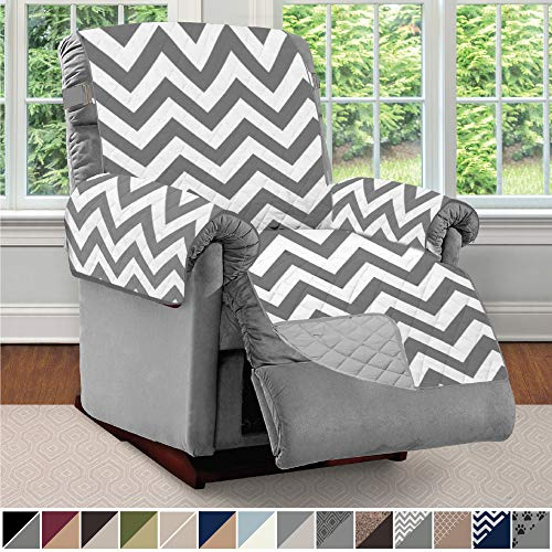Sofa Shield Original Patent Pending Reversible Large Recliner Protector, Seat Width up to 28 Inch, Furniture Slipcover, 2 Inch Strap, Reclining Chair Slip Cover Throw for Pets, Recliner, Chevron Gray