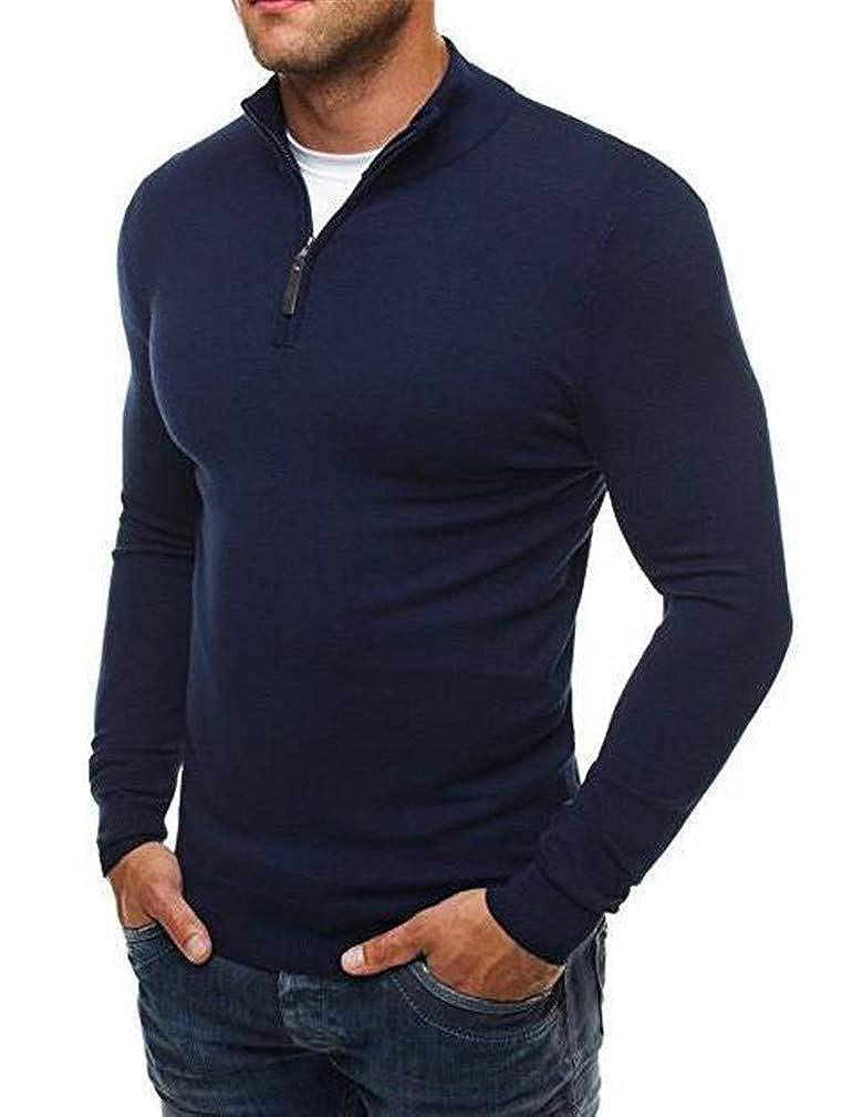 Joe Wenko Mens Stretch Classic Knitted Zipper High Neck Pullover Jumper Sweaters