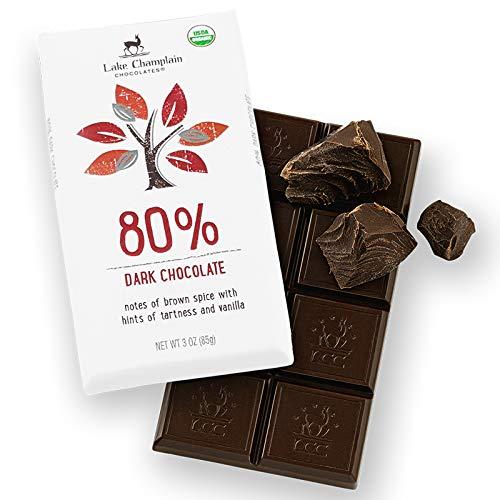 Lake Champlain Chocolates BAR 80% DK ORG FFL, 3 Ounce (Pack of 12)