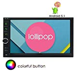 """Apple Play Mirrorlink 7"""" Lollipop Android Car Radio with Quad Core 1.6G Cortex A9 CPU 16G Flash Double Din Stereo in Dash Capacitive Touchscreen Quad-Core CPU GPS Sat Navi Support Wifi Bluetooth/USB"""