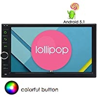 Apple Play Mirrorlink 7 Lollipop Android Car Radio with Quad Core 1.6G Cortex A9 CPU 16G Flash Double Din Stereo in Dash Capacitive Touchscreen Quad-Core CPU GPS Sat Navi Support Wifi Bluetooth/USB
