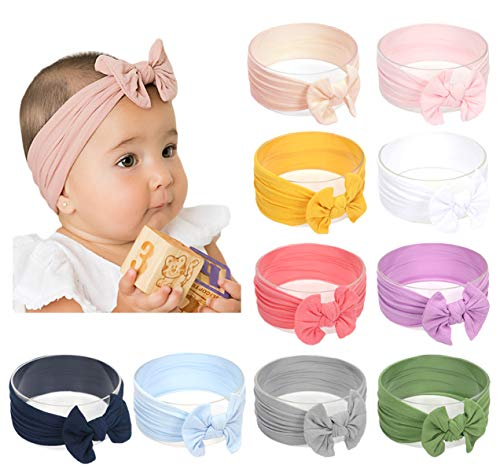 - Baby Girl Nylon Headbands Newborn Infant Toddler Hairbands Bow Knotted Children Soft Headwrap Hair Accessories