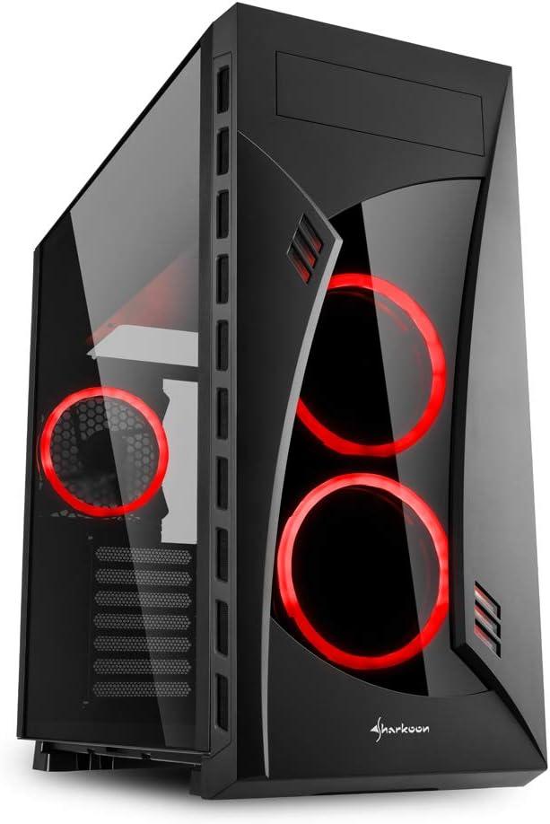 Sharkoon NIGHT SHARK - Caja de Ordenador, PC Gaming, Semitorre ATX, Negro/Rojo: Sharkoon: Amazon.es: Informática