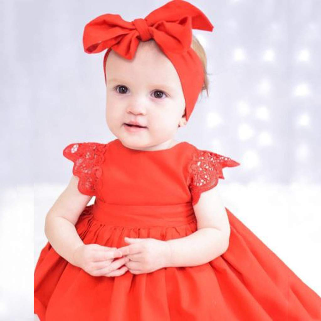 Cuekondy Newborn Toddler Baby Girls Cute Lace Ruffle Romper Dress Headband Summer Clothes Outfits 0-24 Months