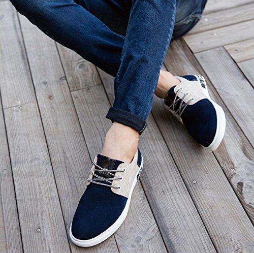 Souliers En Pour Sauvage Coréenne Chaussures Chaussures GRRONG Les Cuir D'automne D'hommes Simples Darkblue Tendance d6qwqtaz