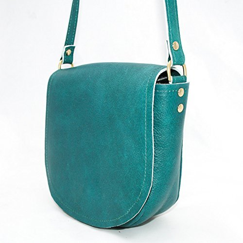 Turquoise Leather Saddle Bag - Leather Cross Body Purse - Blue Green Leather Handbag - Teal Saddle Bag by Beaudin