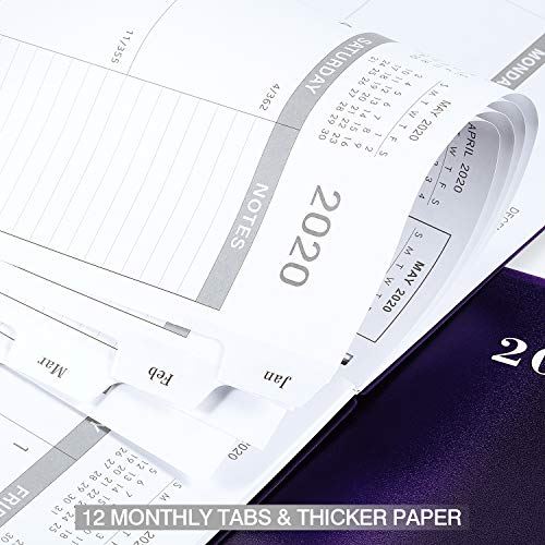 2019-2020 Monthly Planner - 17-Month Planner with Tabs & Pocket & Label, Contacts and Passwords, 8.5 x 11, Thick Paper, Twin-Wire Binding - Purple by Artfan
