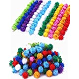 """TECH-P Arts& Craft Pom Poms Sparkle Balls Glitter Poms,Assorted Color- 1"""" with Glitter Tinsel-300Pack)"""
