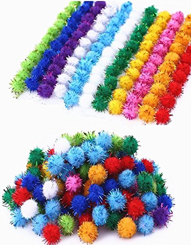 - TECH-P Arts& Craft Pom Poms Sparkle Balls Glitter Poms,Assorted Color- 1