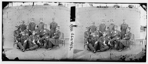 Photo  Group Officers Deck Monitor James River Virginia Va United States Civil War 1862