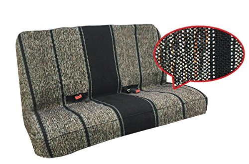 - Saddle Blanket Bench Seat Cover, Baja Woven Design - Universal Fit for Chevrolet, Ford, Dodge, Toyota, Jeep Cars and Trucks (Black)