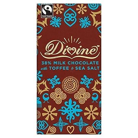 Divine Chocolate Con Leche Con Caramelo Y Sal Marina 100g (Paquete de 6)