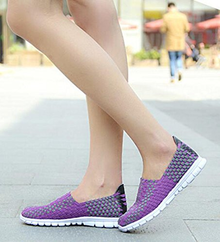 Size Purple GFONE Casual Weight Shoes Sandal Elastic Women's 2 Slip 5 Unisex Light 5 On Walking Fitness 9 Flat Men's Weave RnZqA1R