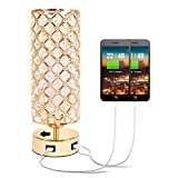 Hong-in Gold Crystal Table Lamp with Dual USB Charging Ports- Chic Nightstand Gold Lamp with Clear Crystal Beads Lampshade Metal Base Stylish Decorative Lamps for Bedroom, Living Room, Guest Room