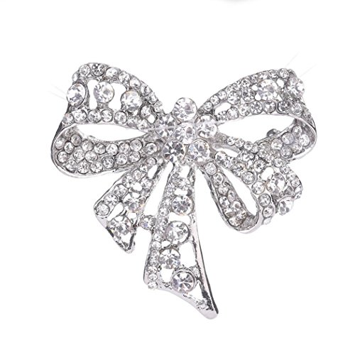 Botrong Women Rhinestone Brooch Bow Tie Brooches Scarves Pin Clip Shawl Buckle gifts 14k Yellow Gold Ribbon