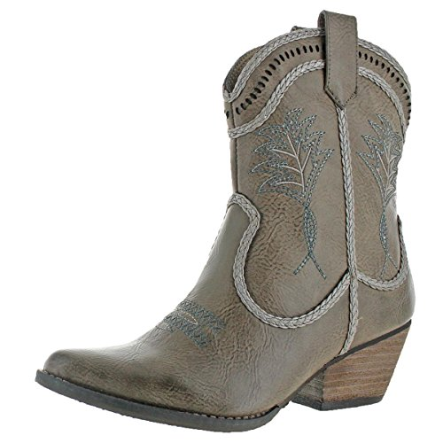 Very Volatile Vinn Womens Faux Leather Bootie Western Cowgirl Shoe Taupe Size 8
