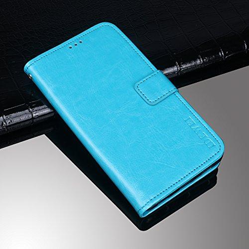 Elephone P8 Funda Faux Cuero Billetera Funda para Elephone P8 con Stand Función(Negro) Azul