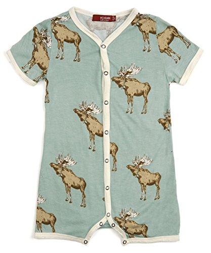 (MilkBarn Bamboo Shortall Bow Tie Moose 3-6 Months)