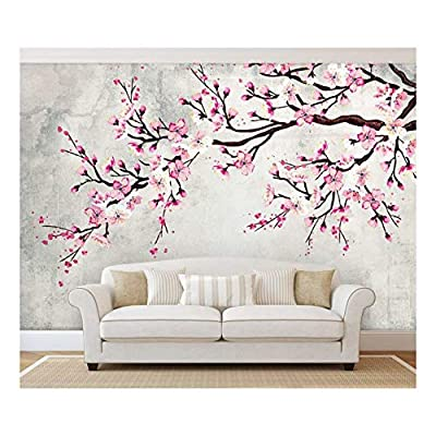 Large Wall Mural Watercolor Style Ink Painting Pink Cherry Blossom on Vintage Wall Background Vinyl Wallpaper Removable Wall Decor, Made With Love, Magnificent Expert Craftsmanship