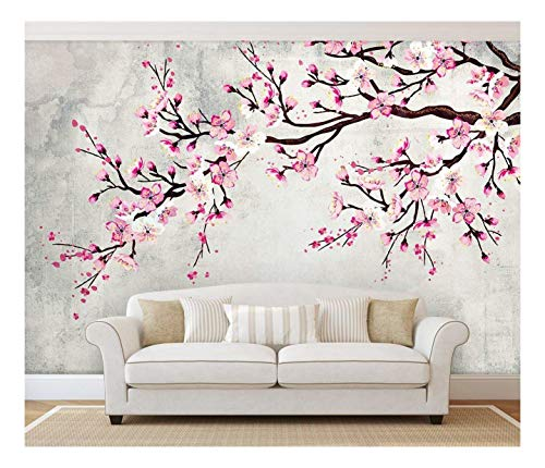 wall26 - Large Wall Mural - Watercolor Style Ink Painting Pink Cherry Blossom on Vintage Wall Background | Self-Adhesive Vinyl Wallpaper/Removable Modern Wall Decor - 66x96 inches ()