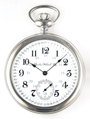 Dueber Special Railway Swiss Mechanical Pocket Watch High Polish Chrome Open Face Case - USA! by Dueber Watch Co