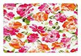 Lunarable Flower Pet Mat for Food and Water, Vivid Watercolor Style Lisianthus in Bloom Leaves Springtime Vibrant Floral Print, Rectangle Non-Slip Rubber Mat for Dogs and Cats, Pink Orange