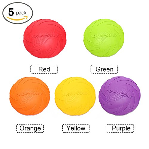 Dog Frisbee,5 PCS Soft Safety Floatable Durable Interactive Flying Discs Toys for Pets in Land and Water (L)